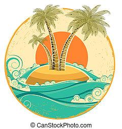 weinlese, tropische , island.vector, symbol, wasserlandschaft, mit, sonne, auf, altes , papier, beschaffenheit