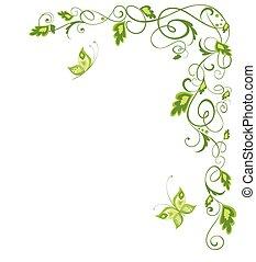 weinlese, umrandungen, grün