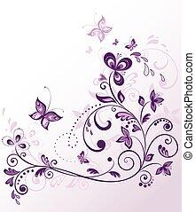 weinlese, umrandungen, violett