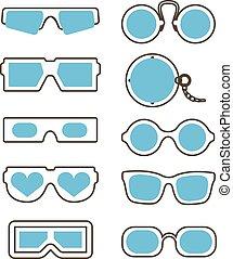 weinlese, und, modern, brille, sammlung