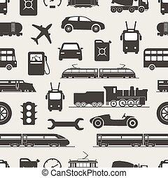 weinlese, und, modern, fahrzeug, silhouetten, seamless, hintergrund