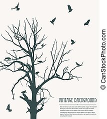 weinlese, vögel, hintergrund