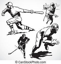 weinlese, vektor, athleten