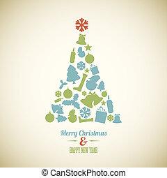 weinlese, vektor, baum, weihnachten