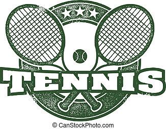 weinlese, vektor, design, tennis