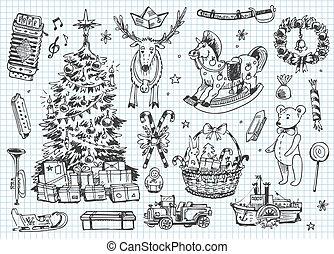 weinlese, vektor, doodles., weihnachten,
