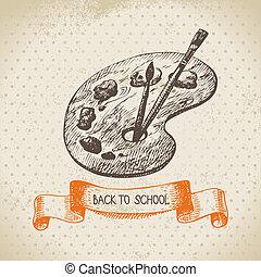 weinlese, vektor, hintergrund, mit, hand, gezeichnet, zurück schule, abbildung