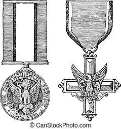 weinlese, vektor, medaillen, militaer