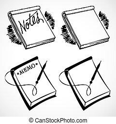 weinlese, vektor, notizbücher