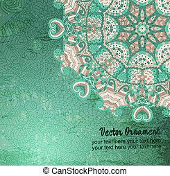 weinlese, vektor, pattern., hand, gezeichnet, abstrakt, hintergrund., dekorativ, retro, banner., buechse, sein, gebraucht, für, banner, einladung, wedding, karte, scrapbooking, und, others., königlich, vektor, design, element.