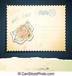 weinlese, vektor, postkarte