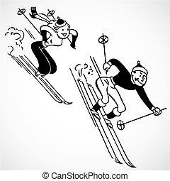 weinlese, vektor, ski fahrend