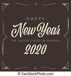 weinlese, -, vignette, vektor, 2020, jahr, neu , banner, glücklich