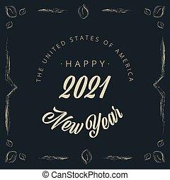 weinlese, -, vignette, vektor, 2021, jahr, neu , banner, glücklich