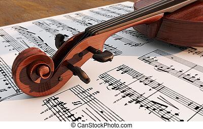 weinlese, viola, auf, musiknote, hintergrund