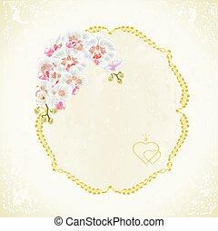 weinlese, weißes, etikett, orchidee, vector.eps