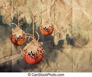weinlese, weihnachten, kugeln, abbildung