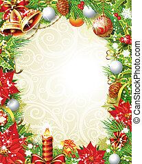 weinlese, weihnachten, rahmen