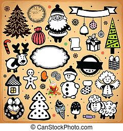 weinlese, weihnachten, satz, von, entwerfen elemente