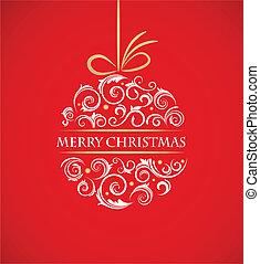 weinlese, weihnachtskugel, mit, retro, verzierungen