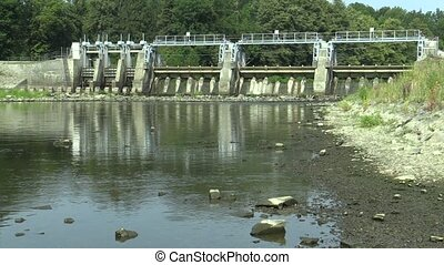 Weir On Morava River, Hydro-electric Power Station, drying...