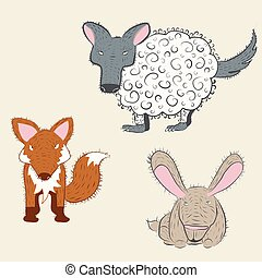 Weird forest animals set