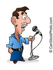 weird reporter - illustration of a young weird man holding...