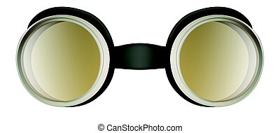 Weird safety goggles isolated on white - Black plastic weird...