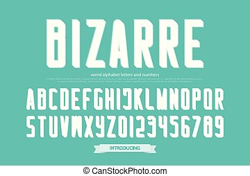 bizarre - weird style alphabet letters and numbers. vector,...