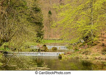 Weirs on river in a spring landscape