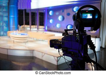 weisen, fernsehapparat, -, aufnahme, fotoapperat, video, studio
