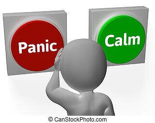 weisen, ruhe, oder, tasten, gelassen, panik, beunruhigend