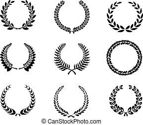 weizen, silhouette, kränze, lorbeer, satz, foliate, kreisförmig