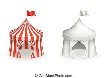 wejście, święto, cyrk, ilustracja, wektor, tent., okrągły