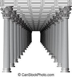 wejście, do, niejaki, grek, świątynia, w, perspektywa