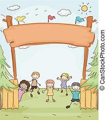 wejście, dzieciaki, stickman, obóz, ilustracja, chorągiew