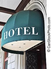 wejście, hotel