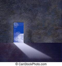 wejście, niebo, otwiera