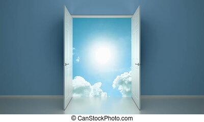 wejście, niebo