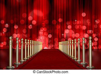 wejście, pękać, lekki, na, kurtyna, czerwony dywan