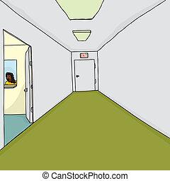 wejście, pracownik, biuro