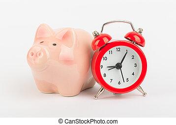 wekker, met, piggy bank