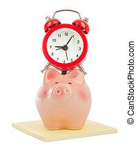 wekker, op, piggy bank
