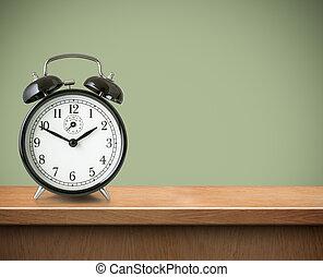 wekker, op, tafel, of, plank, achtergrond
