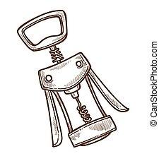 wekować otwieracz, korkociąg, przemysł, rys, odizolowany,...