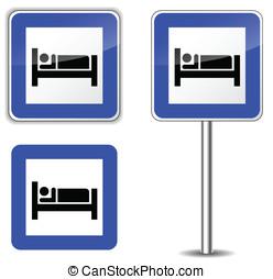 wektor, łóżko, znaki