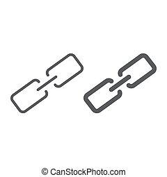 wektor, łańcuch, 10., linearny, znak, próbka, guzik, eps, na, ikona, kontakt, ogniwo, grafika, kreska, białe tło, glyph