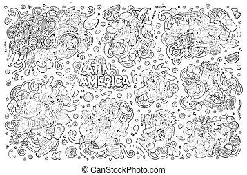 wektor, łacina, doodle, sketchy, ręka, amerykanka, obiekty, ...