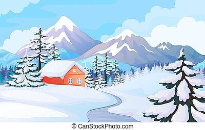 wektor, święto, drewniany, góry, scena, zima, tło, świerk, ...