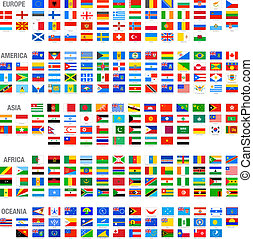 wektor, świat, komplet, bandery, kraj